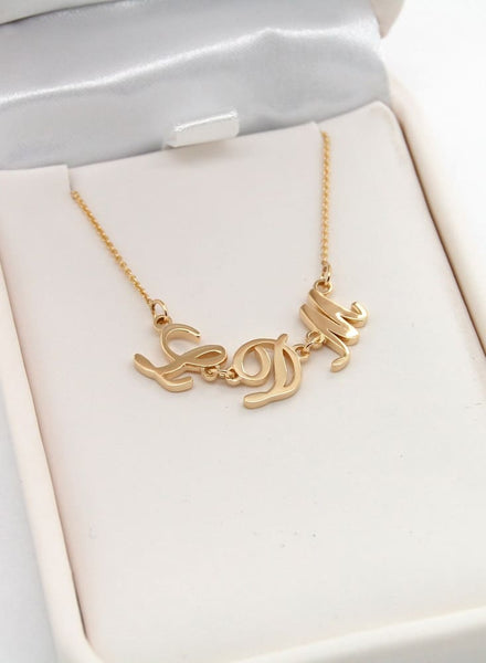 3 Initial Necklace: 14k Gold Necklace With Three Letters, Cursive Or Block - Fine Jewelry by Anastasia Savenko