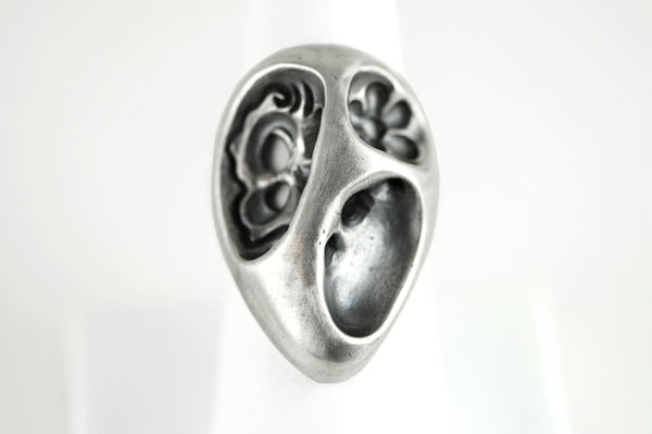 Abstract Ring: Asymmetric Sterling silver ring with oxidation - Fine Jewelry by Anastasia Savenko