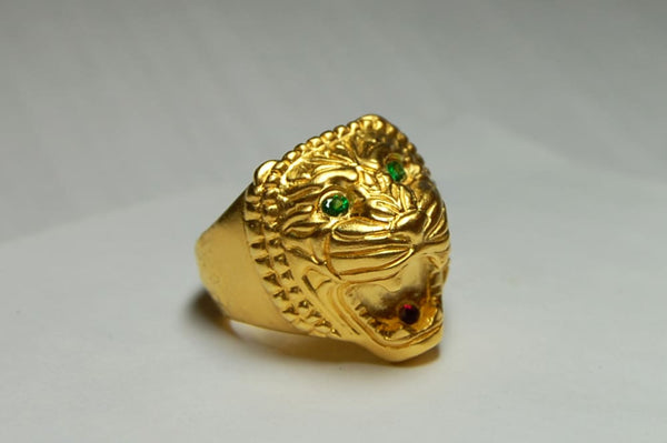 Assyrian Lion Ring: gold plated lion head with ruby mouth, green tsavorite eyes - Fine Jewelry by Anastasia Savenko