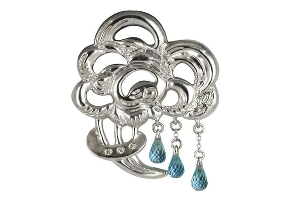 Brooch Bouquet Of Rain: Sterling Silver Pin Brooch With Blue Topaz Drops