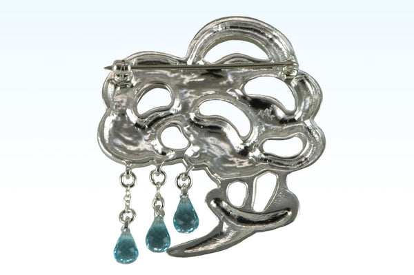 Brooch Bouquet Of Rain: Sterling Silver Pin Brooch With Blue Topaz Drops Drop series