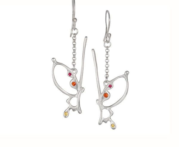 Butterfly Wing Earrings: Sterling Silver Dangle Earrings With Gemstones - Fine Jewelry by Anastasia Savenko