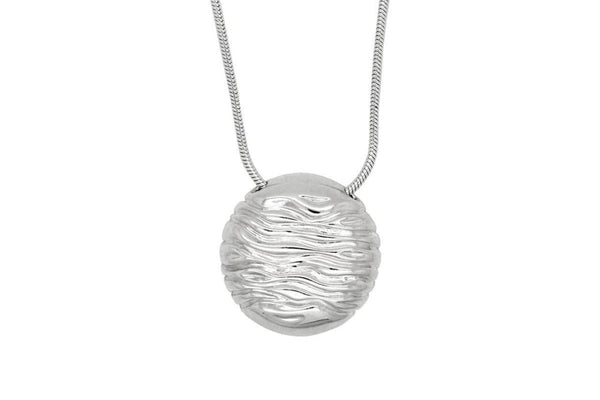 Circle Pendant Necklace: Sterling Silver Wave Circle Necklace - Fine Jewelry by Anastasia Savenko