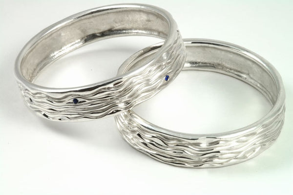 Contemporary silver bangle: bracelet with unique water wave texture Tranqulity series All Bracelets