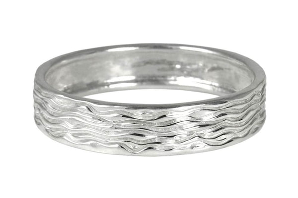 Contemporary silver bangle: bracelet with unique water wave texture