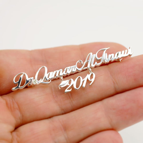 Custom Signature Brooch Pin Solid 14K Gold - Use Handwriting or Monogram - Fine Jewelry by Anastasia Savenko
