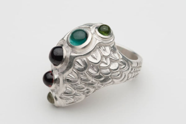Dragon scale ring: multi gemstone ring, sterling silver - Fine Jewelry by Anastasia Savenko