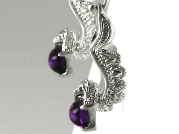 Fantasy Gryphon earrings: sterling silver and purple amethyst earrings - Fine Jewelry by Anastasia Savenko