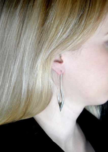 Fish hook earrings: brushed sterling silver long earrings - Fine Jewelry by Anastasia Savenko