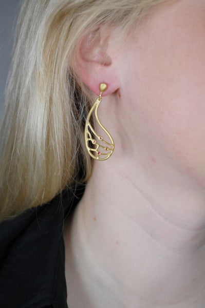 Fly wing earrings: brushed gold plated dangle earrings with posts - Fine Jewelry by Anastasia Savenko