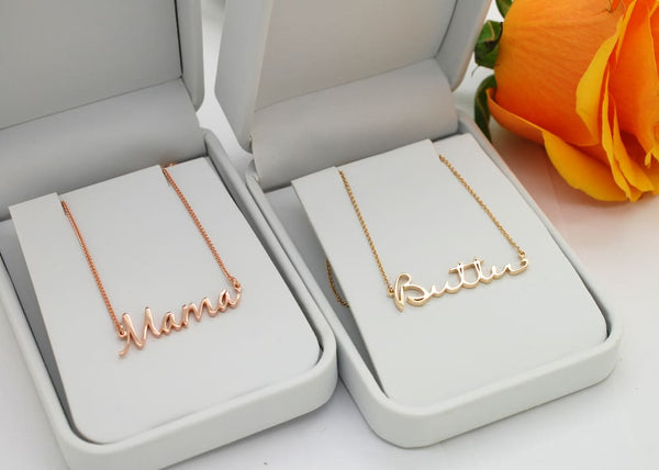 Gold Baby Name Necklace: Custom Gold necklace for Mom