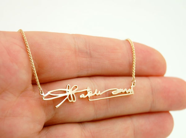 Gold Handwriting jewelry: Necklace in Actual Handwriting - Fine Jewelry by Anastasia Savenko