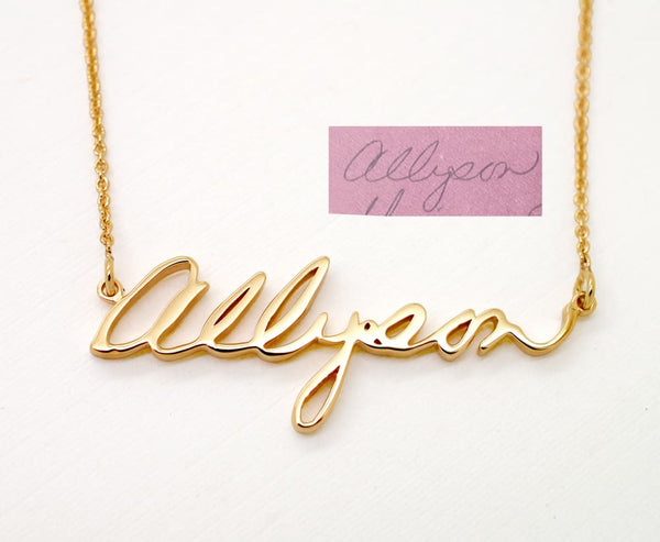 Gold Memorial Necklace for Loved Ones, use Real Handwriting, 14K gold - Fine Jewelry by Anastasia Savenko