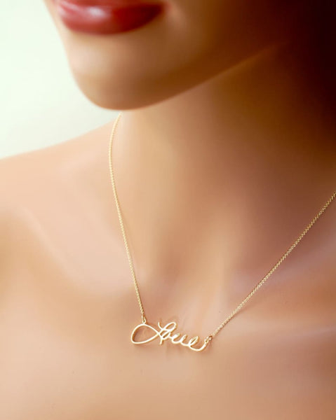 Gold Memorial Necklace for Loved Ones, use Real Handwriting, 14K gold