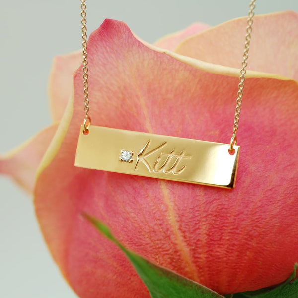 Handwriting Bar Necklace 14K Solid Gold Customized Jewelry