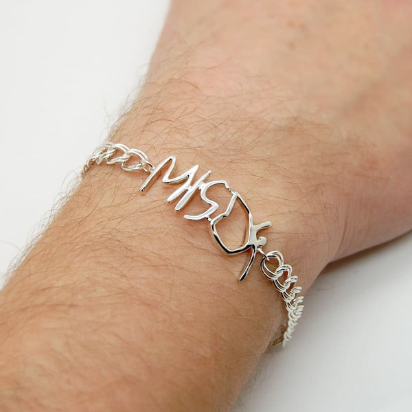 Handwriting Bracelet for Men: Sterling Silver Personalized Handwritten Jewelry for Men, Dad Bracelet - Fine Jewelry by Anastasia Savenko