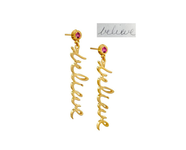 Handwriting earrings and studs - 14K solid gold - yellow, rose or white