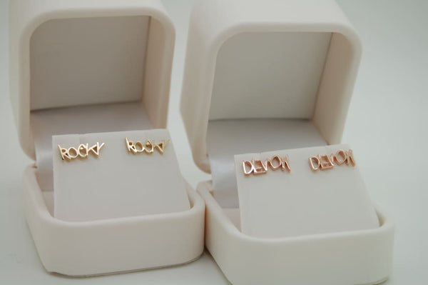 Handwriting earrings and studs - 14K solid gold - yellow rose or white Jewelry
