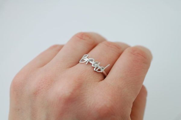 Handwriting Ring 14K Solid Gold Initial Ring Customized Stacking Ring in Yellow White Rose Gold Jewelry
