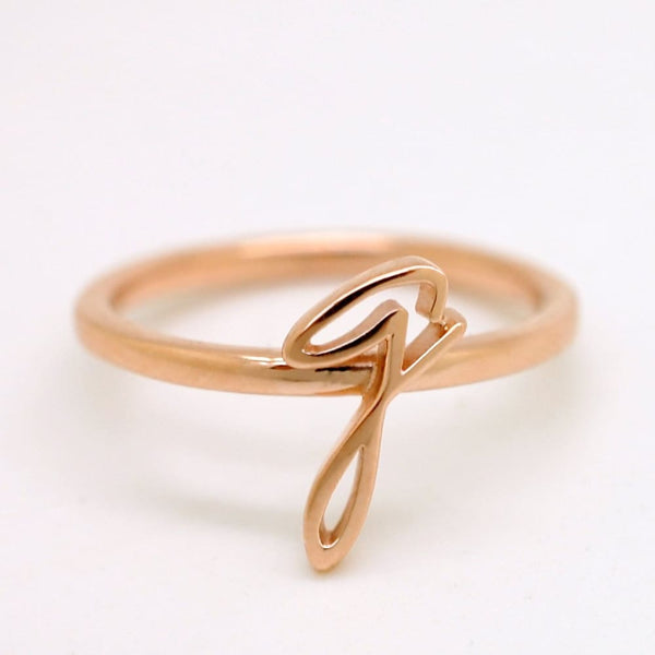 Handwriting Ring 14K Solid Gold Initial Ring, Customized Stacking Ring in Yellow, White, Rose Gold