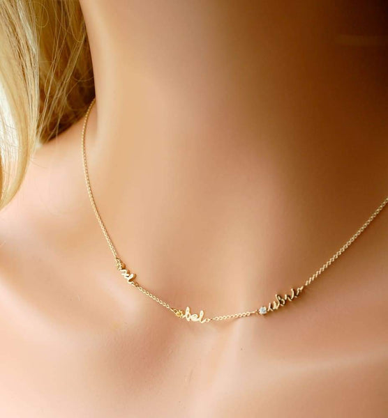 Kids Names Necklace for Mom of 1 2 3 4 5 6 Kids 14K Gold Mothers Necklace with One Two Three Four Children Jewelry