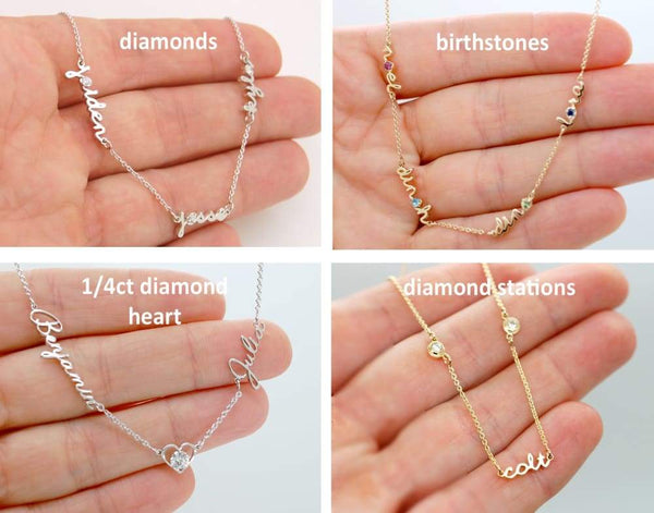 Kids Names Necklace for Mom of 1 2 3 4 5 6 Kids 14K Gold Mother Necklace One Two Three Four Children Jewelry