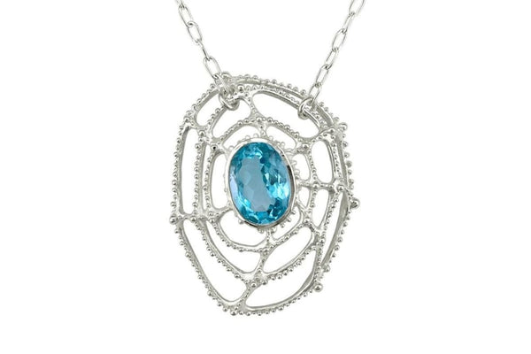 Large blue topaz necklace: sterling silver and blue topaz pendant