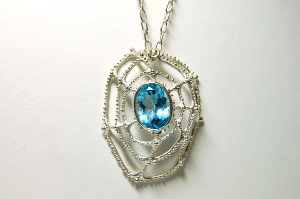 Large blue topaz necklace: sterling silver and blue topaz pendant Arachnas Web All Necklaces