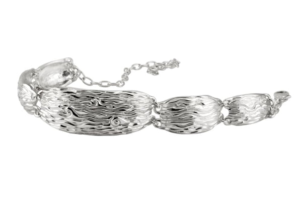 Large Link Bracelet With Sapphires: Contemporary Sterling Silver Bracelet - Fine Jewelry by Anastasia Savenko