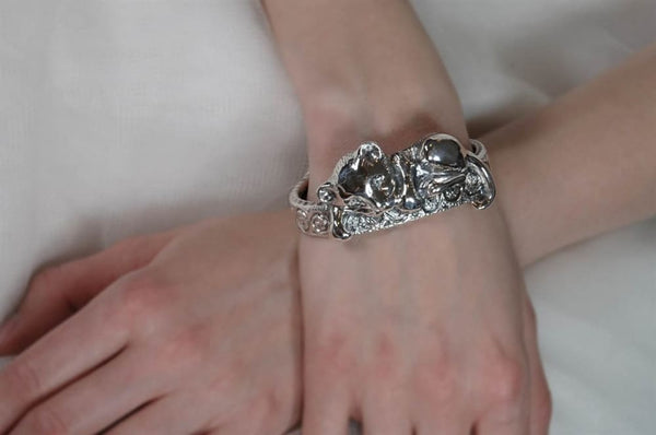 Lion Bracelet: Cute Lion Cub Chewing Cuff, Sterling Silver - Fine Jewelry by Anastasia Savenko