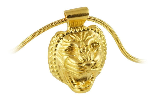 Lion head necklace: Assyrian inspired pendant gold plating over sterling silver Assyrian Series All Necklaces