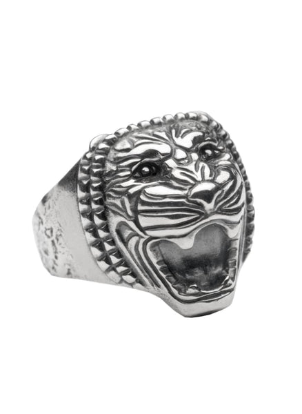 Lion head ring: oxidized sterling silver ring heavy silver lion ring Assyrian Series All rings