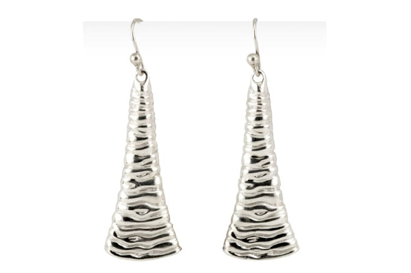 Long dangle earrings: sterling silver earrings with wave texture - Fine Jewelry by Anastasia Savenko