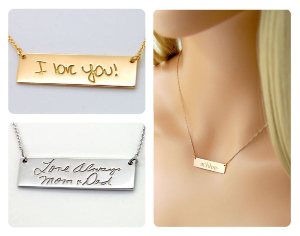 Mothers Gift from Daughter: 14K Gold Signature Bar Necklace, Mother of the Bride or Groom Gift