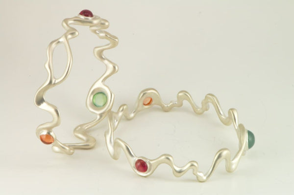 Multi Colored Gemstones Bracelet: Matte Sterling Silver Bangle - Fine Jewelry by Anastasia Savenko