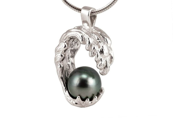 Ocean Wave Necklace With Black Tahitian Pearl, Sterling Silver - Fine Jewelry by Anastasia Savenko