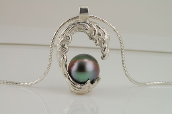 Ocean Wave Necklace With Black Tahitian Pearl Sterling Silver Wave series All Necklaces