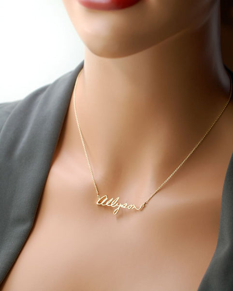 Personalized Gold Necklace, Handwritten Keepsake - Fine Jewelry by Anastasia Savenko