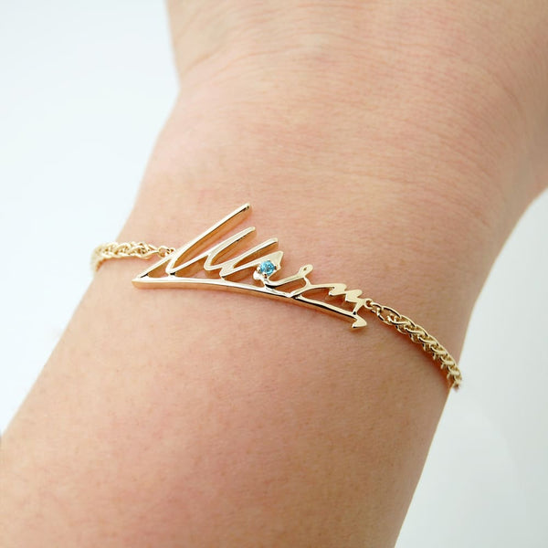 Personalized Signature Handwriting Bracelet, 14k Gold Handwritten Jewelry - Fine Jewelry by Anastasia Savenko