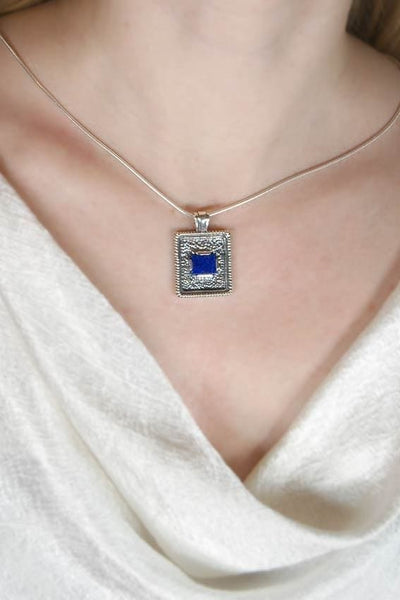 Rectangle pendant necklace: oxidized sterling silver with blue lapis lazuli - Fine Jewelry by Anastasia Savenko