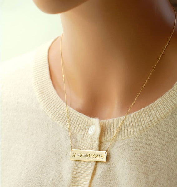 Roman Numeral Necklace: 14K Solid Gold Wedding Date Necklace, Anniversary Date, Bride Gift - Fine Jewelry by Anastasia Savenko