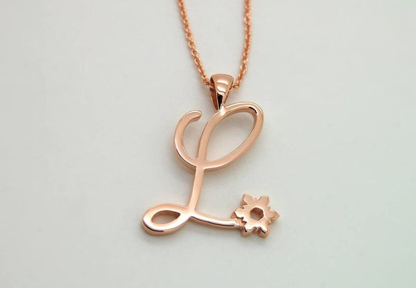 Rose Gold  2 Initials Cursive Necklace 14K Solid Gold  Cursive Letters Necklace - Fine Jewelry by Anastasia Savenko