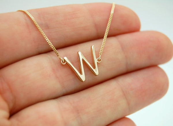 Sideways Initial Necklace 14K Gold Custom Block Letter Necklace - Fine Jewelry by Anastasia Savenko