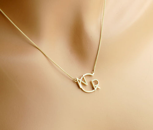Sideways Modern Monogram Necklace 14K Gold Two Letters Necklace Gold - Fine Jewelry by Anastasia Savenko