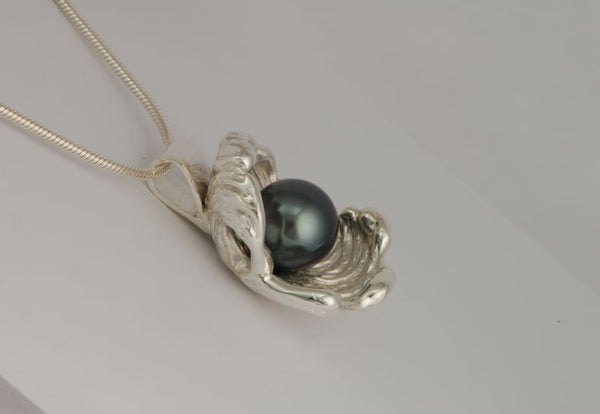 Single Pearl Necklace: Tahitian Pearl Sterling Silver Pendant - Fine Jewelry by Anastasia Savenko