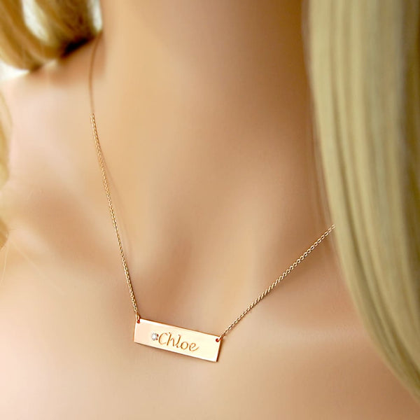Solid 14K Gold Bar Customizable College Graduation Necklace for Her, Personalized Gift For Teacher - Fine Jewelry by Anastasia Savenko