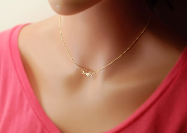 Solid 14k Gold Heart Necklace add Diamond or Initial Real Gold Heart Necklace Jewelry