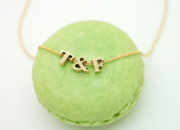 Solid 18K Gold Heart Necklace with Initials or Star Charm Real Gold 18K Letter Necklace Jewelry
