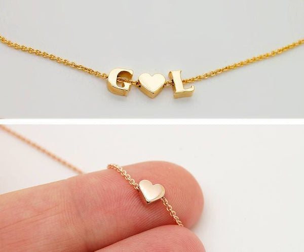 Solid 18K Gold Heart Necklace with Initials or Star Charm Real Gold 18K Letter Necklace