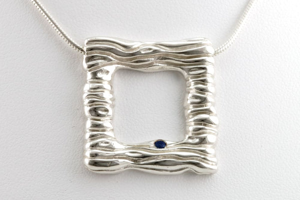 Square Silver Pendant Necklace: Water Necklace With Blue Sapphire - Fine Jewelry by Anastasia Savenko